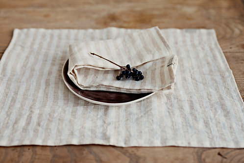 LINEN PLACEMAT- NATURAL STRIPPED
