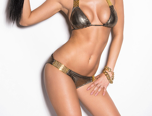Black Gold Scrunch Bum Triangle Bikini