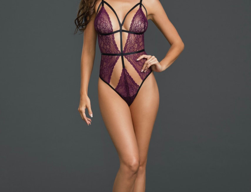 Purple Thong Strappy Teddy