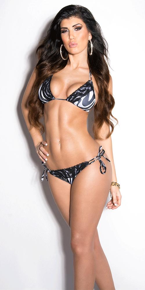 lace bikini, animal print bikini