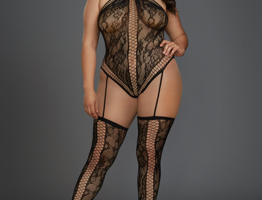 Plus Size Black Lace Teddy Bodystocking with Thigh High Stockings
