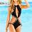 Thumbnail: Black Monokini Swimsuit with Leopard Print Trim