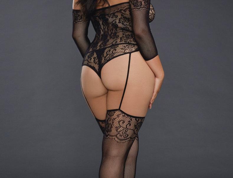 Plus Size Black Fishnet Lace Stocking