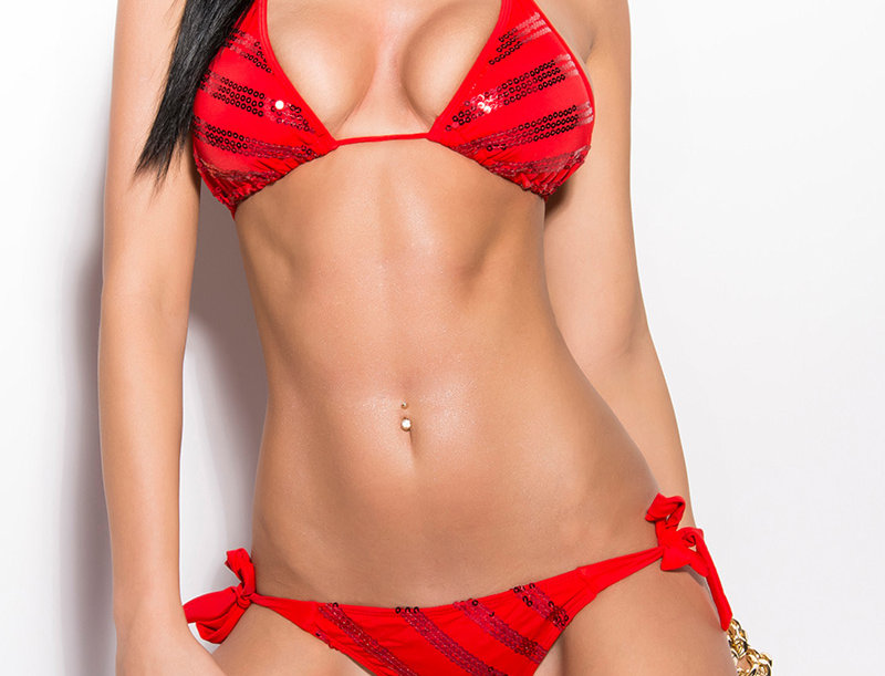 Red Sequin Triangle Bikini