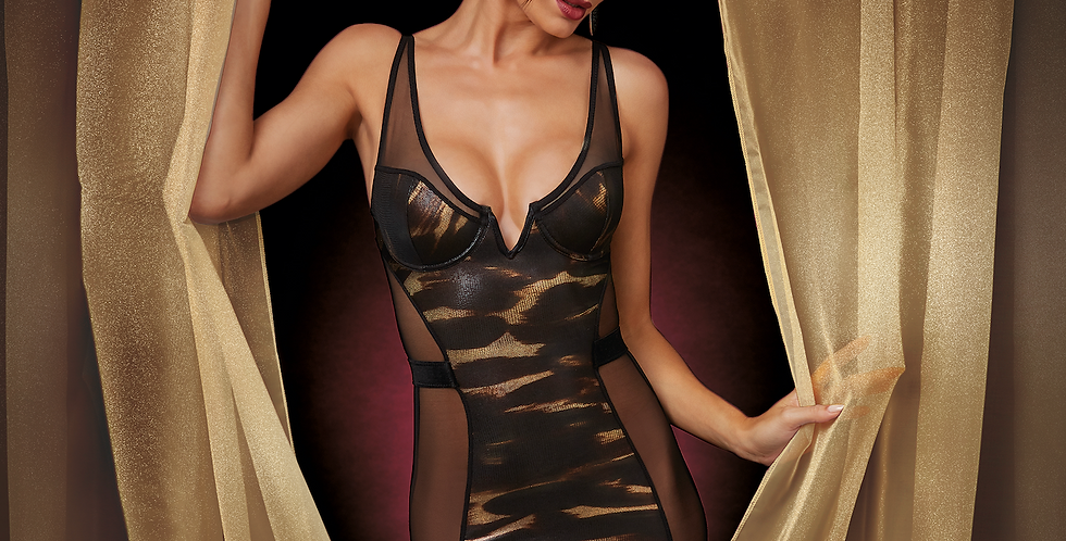 Black and Gold Sheer Bodice