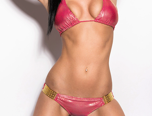 Pink Gold Scrunch Bum Triangle Halter Bikini