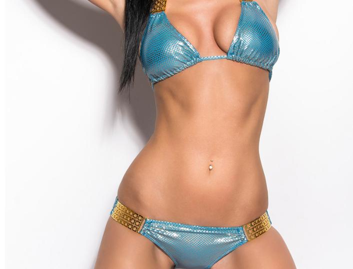 Blue Scrunch Bum Triangle Bikini with Gold Chains