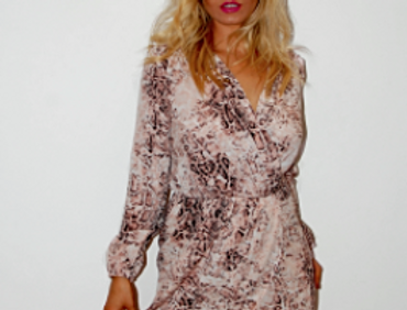 Snakeskin Plunge Celeb Style Dress