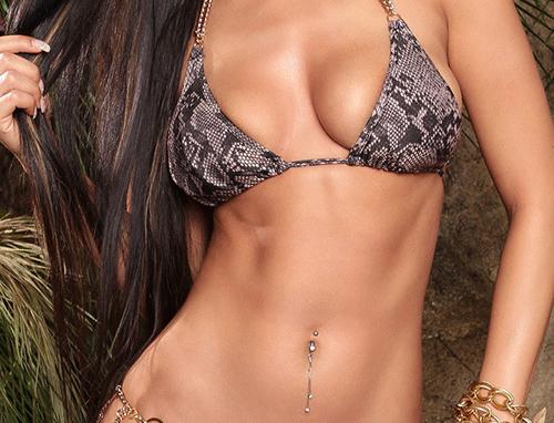 Snake Print Chain Scrunch Triangle Bikini