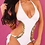 Thumbnail: Monokini Swimsuit White with Gold Sequins