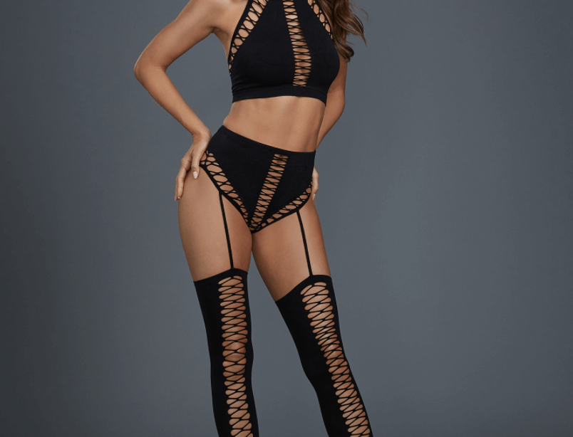 Black Fishnet Bralette Garter and thigh high stocking lingerie set