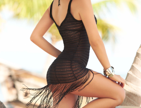 Black Fringed Beach Cover Up By Mapale