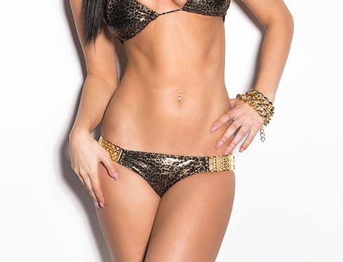 Leopard Print Gold Scrunch Bum Triangle Bikini