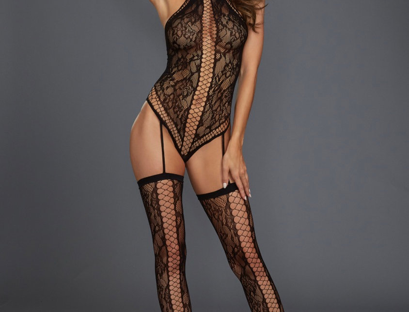 Black Lace Teddy Bodystocking with Thigh High Stockings