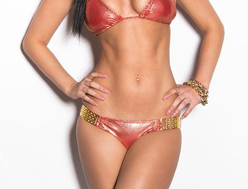Red Gold Scrunch Bum Triangle Sexy Bikini