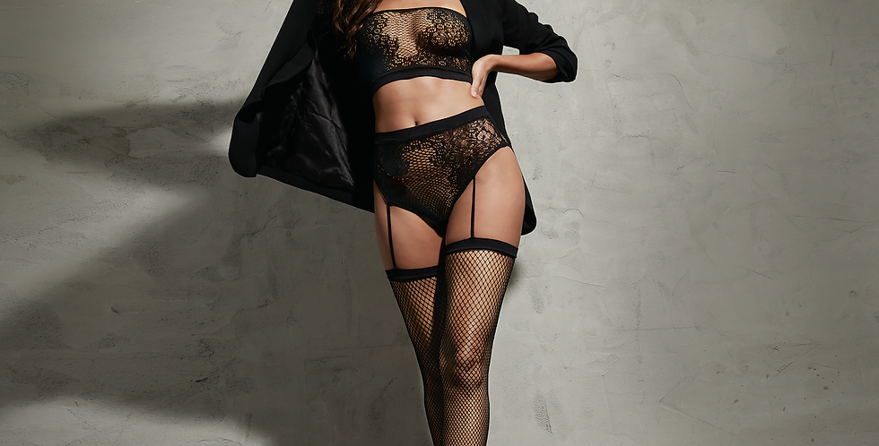 Fishnet and Lace Bandeau Lingerie Set with suspenders and stockings