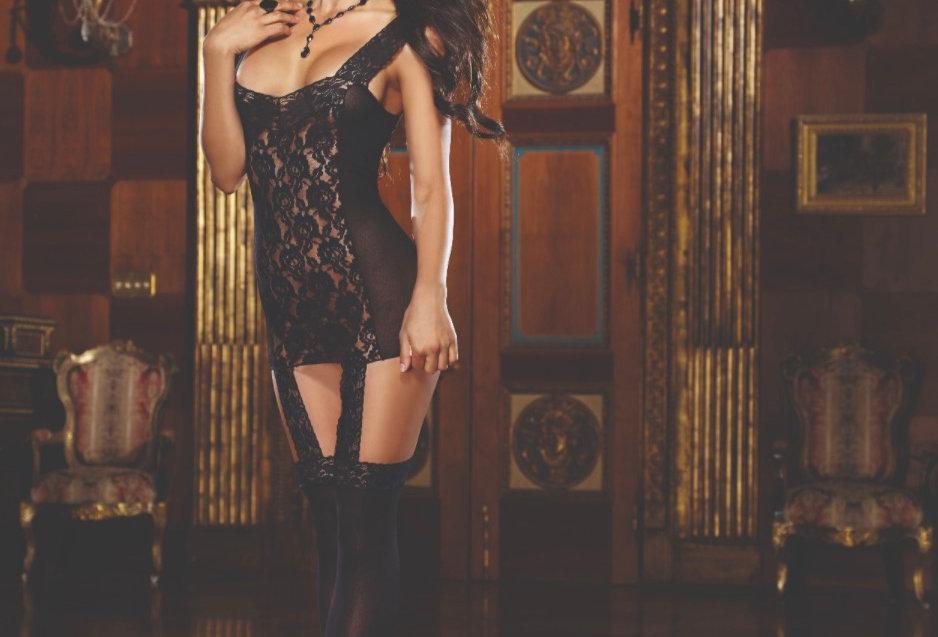 Black Sheer Lace Garter Dress
