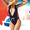 Thumbnail: Navy Plunge Swimsuit with Rope Detail by Mapale