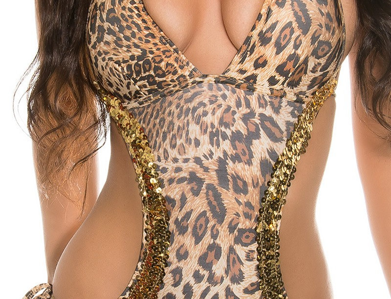 Monokini Swimsuit Animal print with Gold Sequins
