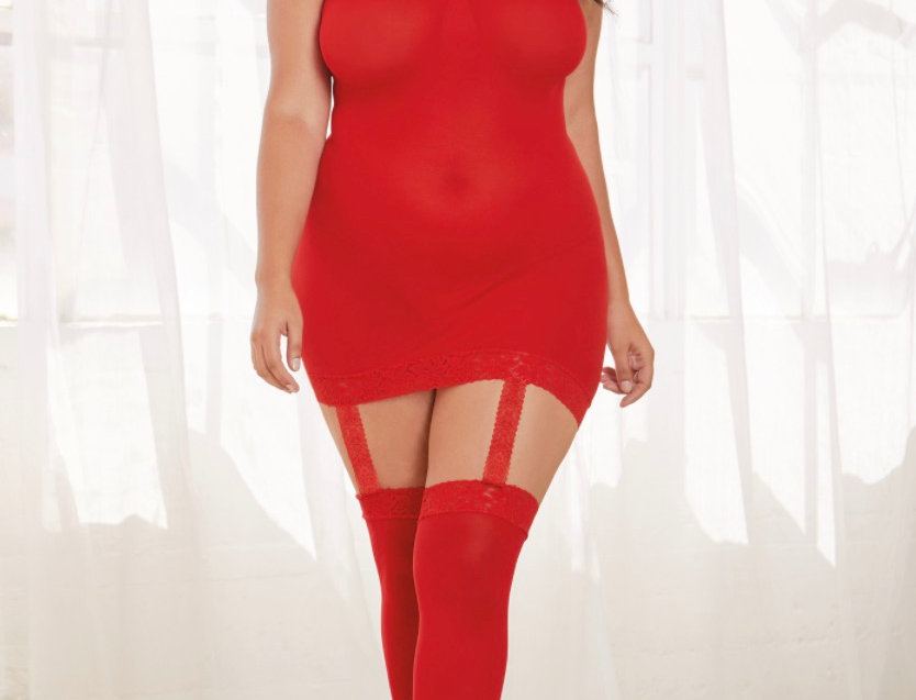 Plus Size Red Sheer Lingerie Dress