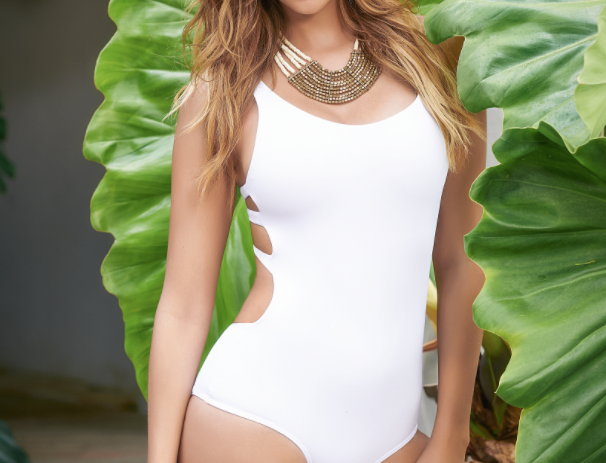 White Stappy Backless Swimsuit by Mapale