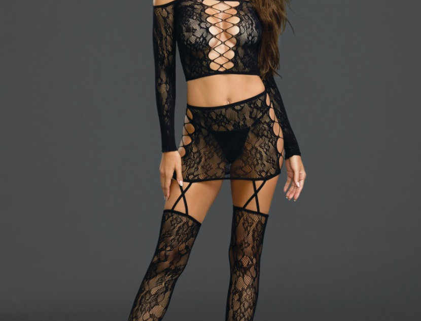 Black Patterned Lace Lingerie set with Garters