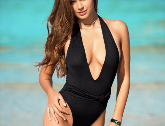 Black Plunge One Piece Swimsuit by Mapale