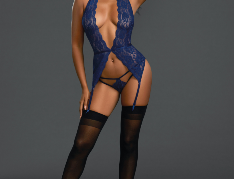Midnight Blue Lace Garter Slip Lingerie Set