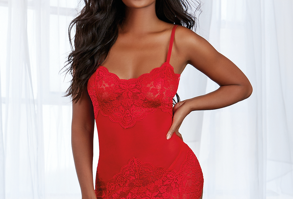 Dreamgirl Red Lace and Mesh Bodice