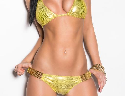 Yellow Scrunch Bum Triangle Bikini