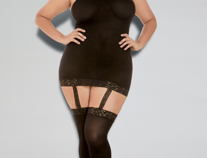 Plus Size Black Sheer Lingerie Dress