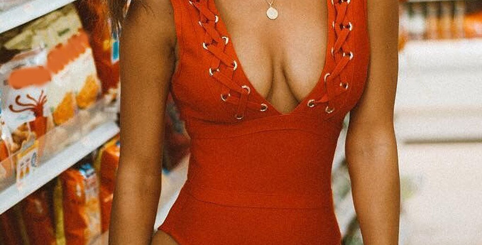 Red Plunge Swimsuit with Lace