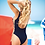 Thumbnail: Navy Plunge One Piece Swimsuit