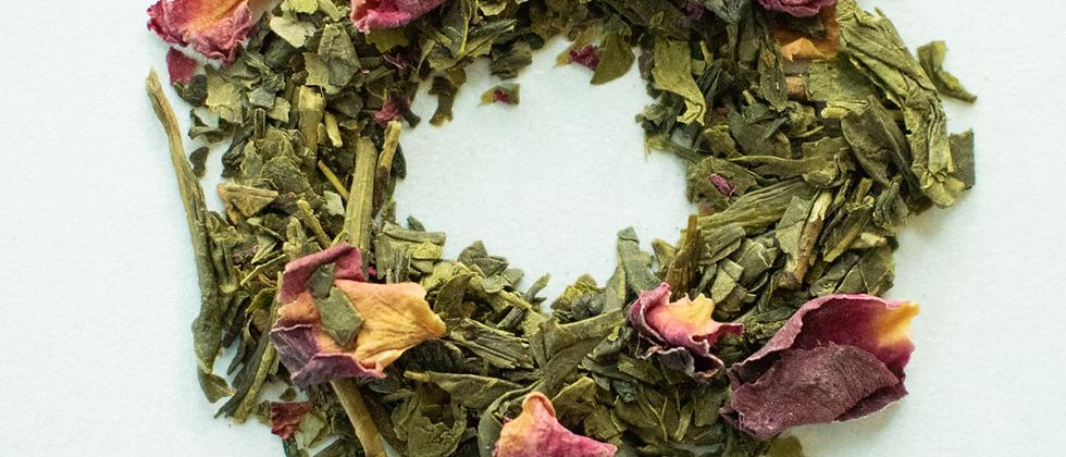 Té verde mezcla | Sencha Rosas y Cereza 2oz