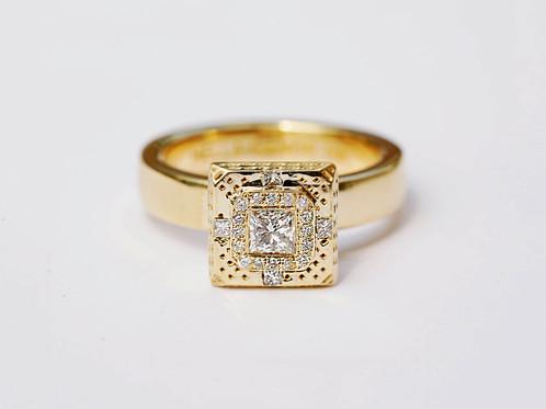 Square Diamonds Geometric 18K Gold Ring Fine Jewelry