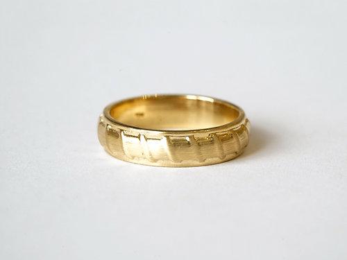 Vertical Lines Texture Wedding Band 18K Gold