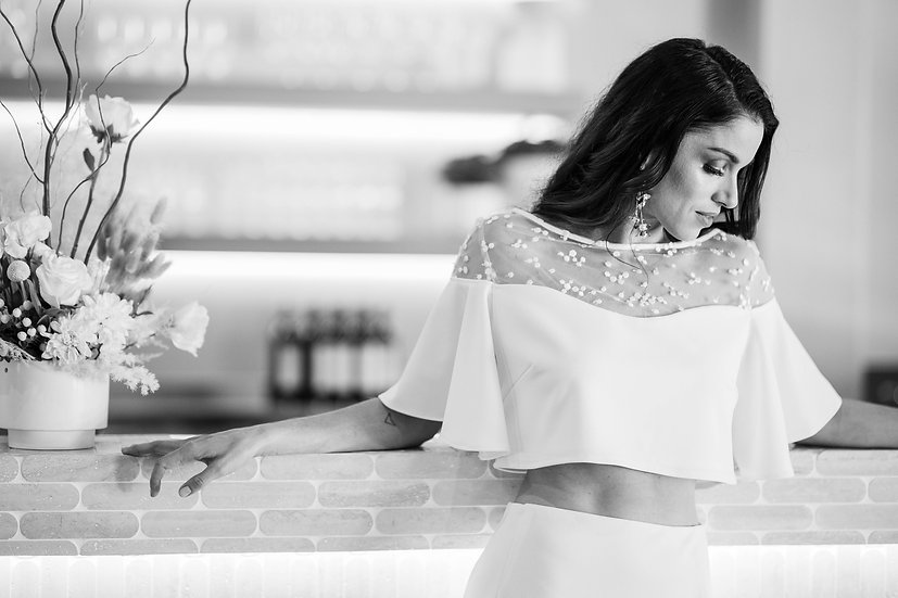The Chloe Separates - Bridal Top and Side-Split Skirt