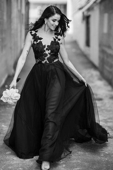 The Henley - Black Lace Wedding Dress