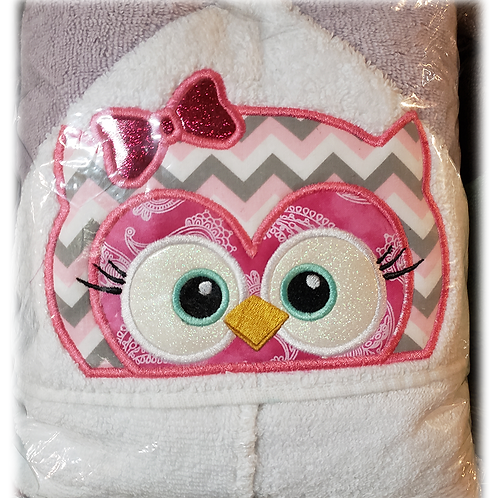 Owl Girl Hooded Bath Towel
