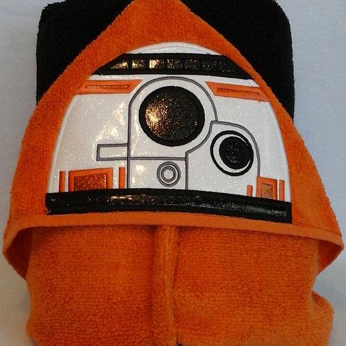 Orange Droid Hooded Bath Towel