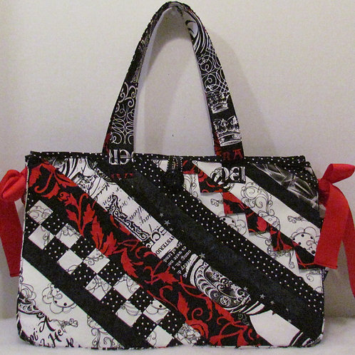 Black, Red & White All Over Knitting or Craft Bag