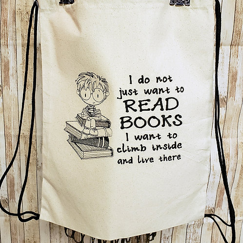 Climb inside Books Embroidered String Backpack