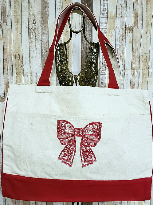 Lace Bow Embroidered Tote