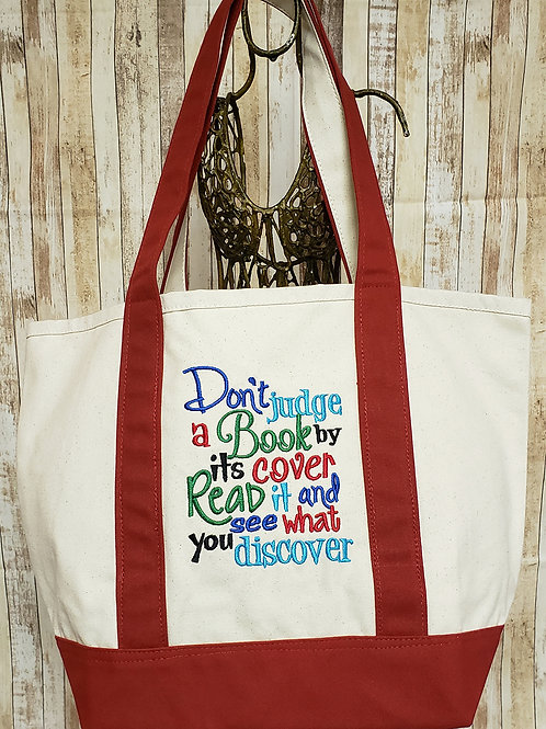 Judge Book by it's Cover Embroidered Tote