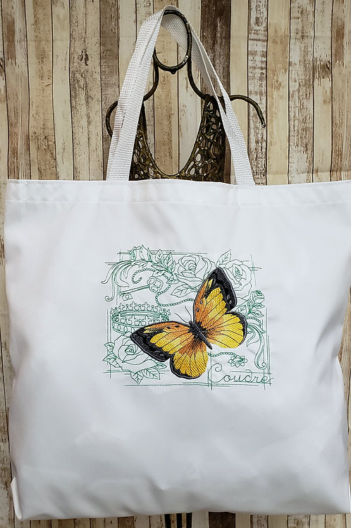 Monarch Butterfly Design Embroidered Tote
