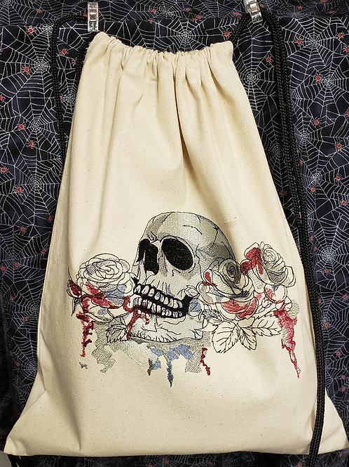 Watercolor Skull Canvas Drawstring Backpack