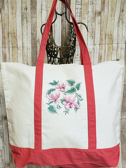 Fuchsia Spray Embroidered Tote