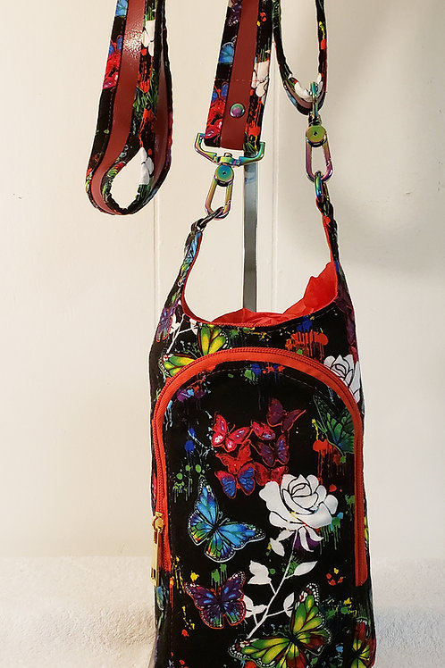 Painted Flowers H20 2 Water Bottle Sling with Built in Wallet