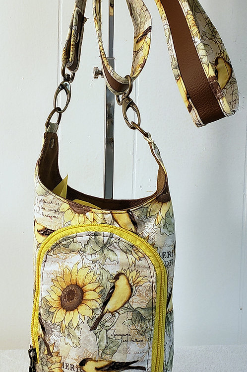 Sunflowers & Goldfinches H20 2 Water Bottle Sling with Built in Wallet