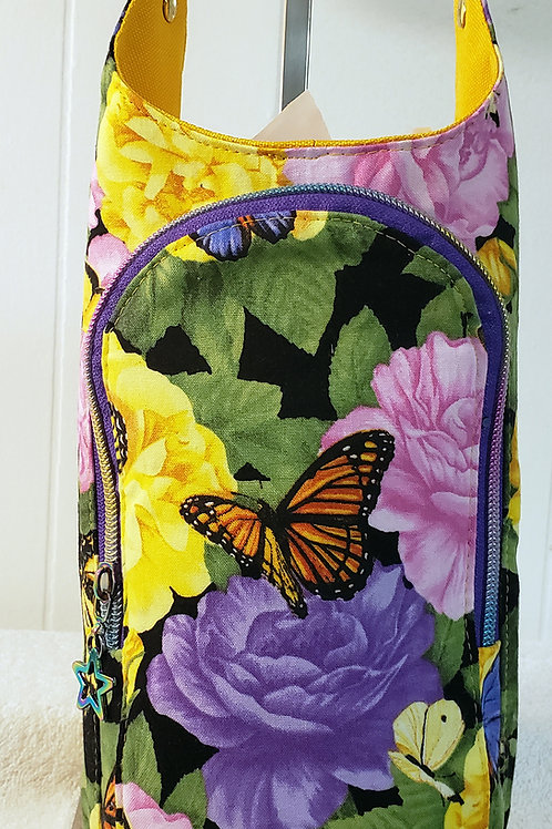 Butterflies & Flowers H20 2 Water Bottle Sling with Built in Wallet